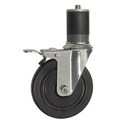 """SCC 2"""" Swivel Thermoplastic Rubber Caster /& 1-1//4 Expanding Stem"""