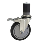 "5"" Expanding Stem Swivel Caster with Black Polyurethane Tread and total lock brake"