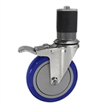 "5"" Expanding Stem Swivel Caster with Blue Polyurethane Tread and total lock brake"