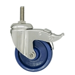 "4"" Grade 316 Stainless Steel Swivel Caster with Solid Polyurethane Tread and Total Lock Brake"