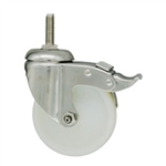 5 Inch Stainless Steel Threaded Stem Swivel Caster with White Nylon Wheel and Total Lock