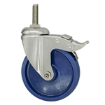 "5"" Grade 316 Stainless Steel Swivel Caster with Solid Polyurethane Tread and Total Lock Brake"