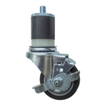 "3"" Expanding Stem Stainless Steel  Swivel Caster with Black Polyurethane Tread and Brake"