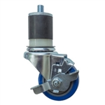 "3"" Expanding Stem Stainless Steel  Swivel Caster with Blue Polyurethane Tread and Brake"