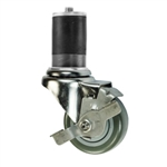"3"" Expanding Stem Stainless Steel  Swivel Caster with Polyurethane Tread and Brake"