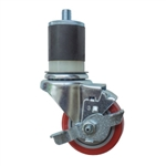"3"" Expanding Stem Stainless Steel  Swivel Caster with Red Polyurethane Tread and Brake"