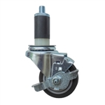"3"" Expanding Stem Stainless Steel Swivel Caster with Black Polyurethane Tread and top lock brake"
