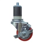 "3"" Expanding Stem Stainless Steel Swivel Caster with Red Polyurethane Tread and top lock brake"