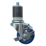 "3-1/2"" Expanding Stem Stainless Steel Swivel Caster with Blue Polyurethane Tread and top lock brake"