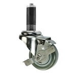 "3.5"" Expanding Stem Stainless Steel Swivel Caster with Polyurethane Tread and top lock brake"