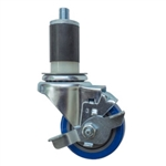 "3.5"" Expanding Stem Stainless Steel Swivel Caster with Blue Polyurethane Tread and top lock brake"