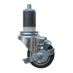 "3-1/2"" Expanding Stem Stainless Steel Swivel Caster with Black Polyurethane Tread and top lock brake"