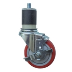 "4"" Expanding Stem Stainless Steel  Swivel Caster with Red Polyurethane Tread and top lock brake"