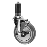 "4"" Expanding Stem Stainless Steel Swivel Caster with Polyurethane Tread and top lock brake"