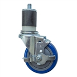 "4"" Expanding Stem Stainless Steel Swivel Caster with Blue Polyurethane Tread and top lock brake"