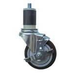 "4"" Expanding Stem Stainless Steel  Swivel Caster with Black Polyurethane Tread and top lock brake"