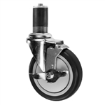 "5"" Expanding Stem Stainless Steel Swivel Caster with Black Polyurethane Tread and top lock brake"