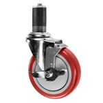 "5"" Expanding Stem Stainless Steel Swivel Caster with Red Polyurethane Tread and top lock brake"
