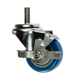 "3"" Stainless Steel Swivel Threaded Stem Caster with Blue Polyurethane Tread and Brake"