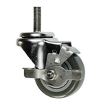 "3"" metric threaded stem Swivel Caster with Polyurethane Tread and Brake"