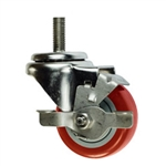 "3"" metric threaded stem Stainless Steel Swivel Caster with Red Polyurethane Tread and Brake"