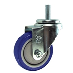 "3"" Stainless Steel Threaded Stem Swivel Caster with Blue Polyurethane Tread"
