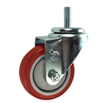 "3"" Stainless Steel Threaded Stem Swivel Caster with Red Polyurethane Tread"