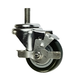 "3"" Stainless Steel Threaded Stem Swivel Caster with Black Polyurethane Tread and Brake"