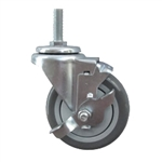 "3"" Stainless Steel Threaded Stem Swivel Caster with Polyurethane Tread and Brake"