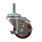 "3"" Stainless Steel Threaded Stem Swivel Caster with Maroon Polyurethane Tread and Brake"
