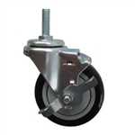 "4"" Stainless Steel Threaded Stem Swivel Caster with Black Polyurethane Tread Wheel and Brake"