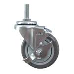 "4"" Stainless Steel Threaded Stem Swivel Caster with Polyurethane Tread Wheel and Brake"