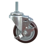 "4"" Stainless Steel Threaded Stem Swivel Caster with Maroon Polyurethane Tread and Brake"