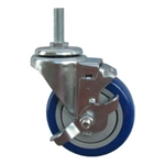 "4"" Stainless Steel Threaded Stem Swivel Caster with Blue Polyurethane Tread and Brake"