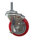"4"" Stainless Steel Threaded Stem Swivel Caster with Red Polyurethane Tread and Brake"