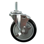 "5"" Stainless Steel Threaded Stem Swivel Caster with Black Polyurethane Tread Wheel and Brake"