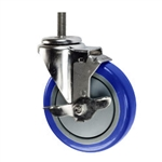 "5"" Stainless Steel Threaded Stem Swivel Caster with Blue Polyurethane Tread Wheel and Brake"