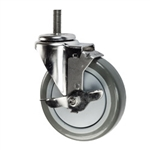 "5"" Stainless Steel Threaded Stem Swivel Caster with Polyurethane Tread Wheel and Brake"