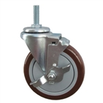 "5"" Stainless Steel Threaded Stem Swivel Caster with Maroon Polyurethane Tread Wheel and Brake"