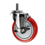 "5"" Stainless Steel Threaded Stem Swivel Caster with Red Polyurethane Tread Wheel and Brake"