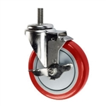 "5"" Stainless Metric Stem Swivel Caster with Red Polyurethane Tread and Brake"