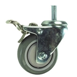 "3"" Stainless Steel Swivel Caster with Polyurethane Tread and Total Lock Brake"