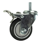 "3"" Threaded Stem Stainless Steel Swivel Caster with Black Polyurethane Tread and Total Lock"