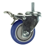 "3"" Threaded Stem Stainless Steel Swivel Caster with Blue Polyurethane Tread and Total Lock"