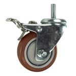 "3"" Threaded Stem Stainless Steel Swivel Caster with Maroon Polyurethane Tread and Total Lock"