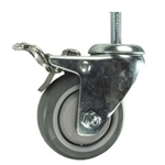 "3-1/2"" Stainless Steel Threaded Stem Swivel Caster with Polyurethane Tread and Total Lock Brake"