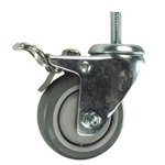 12mm Stainless Steel Threaded Stem Swivel Caster with a Polyurethane Tread Wheel and Total Lock