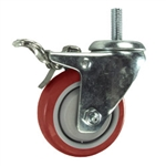 12mm Stainless Steel Threaded Stem Swivel Caster with a Red Polyurethane Tread Wheel and Total Lock