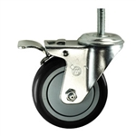 "4"" Stainless Steel Threaded Stem Swivel Caster with Black Polyurethane Tread Wheel and Total Lock Brake"