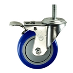 "4"" Stainless Steel Threaded Stem Swivel Caster with Blue Polyurethane Tread Wheel and Total Lock Brake"